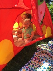 Sunny days camping out in the backyard! It was extremely hot that day but the girl insisted on having a picnic lunch in the tent. Needless to say, we all needed a bath after that.