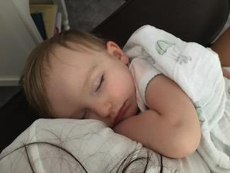 Nap-time cuddles with my Beanie bear <3